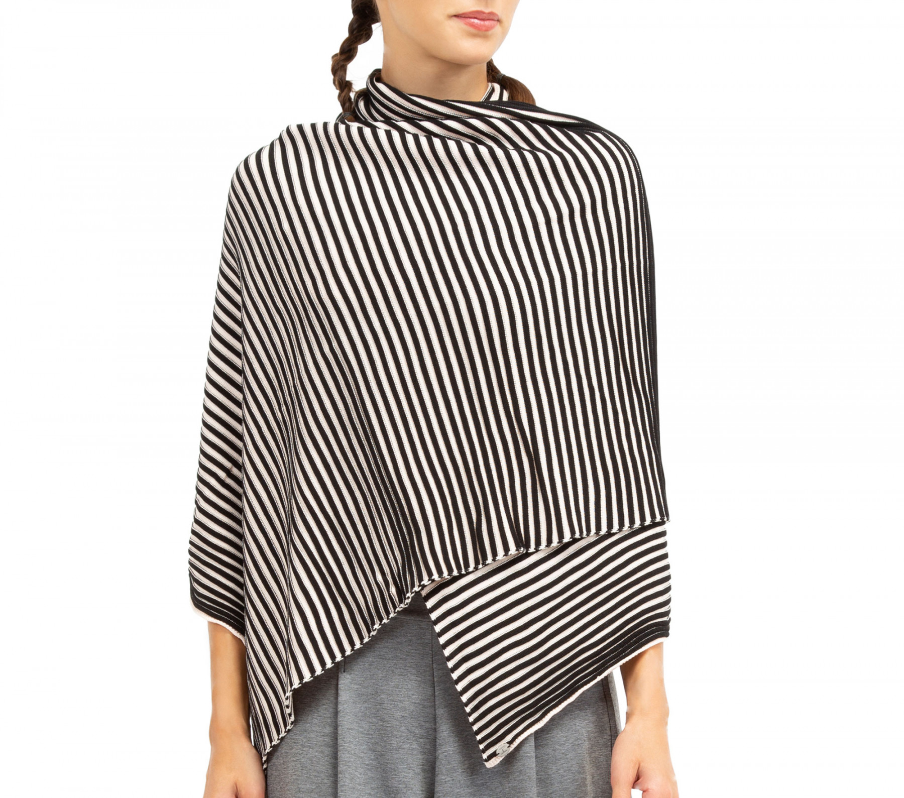 Large écharpe en tricot cotélé bi color 60aa1f35c5d