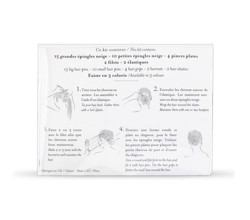 Kit cheveux châtains pour chignon de danse