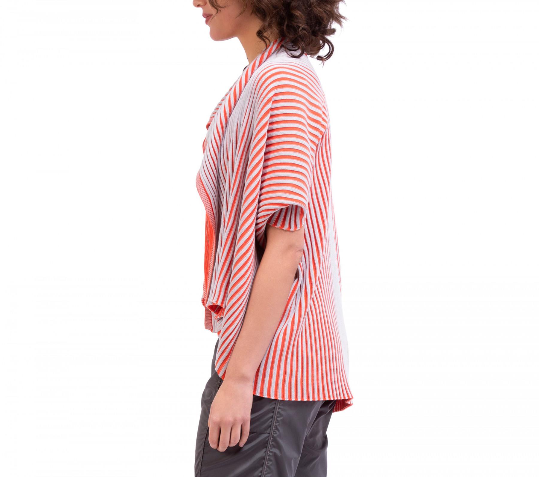Large cache-cœur en tricot côtelé bi color