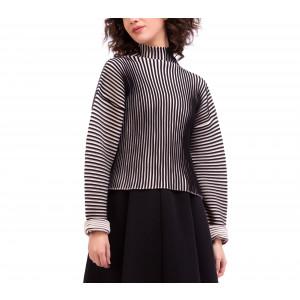 Pull col montant en tricot côtelé bi color