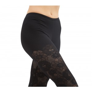 Lace leggings in rosette lace