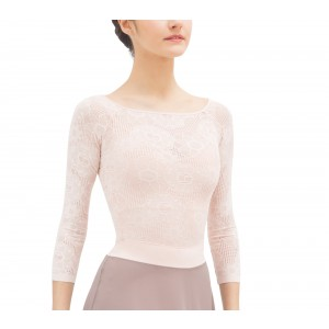 Long sleeves top in rosette lace