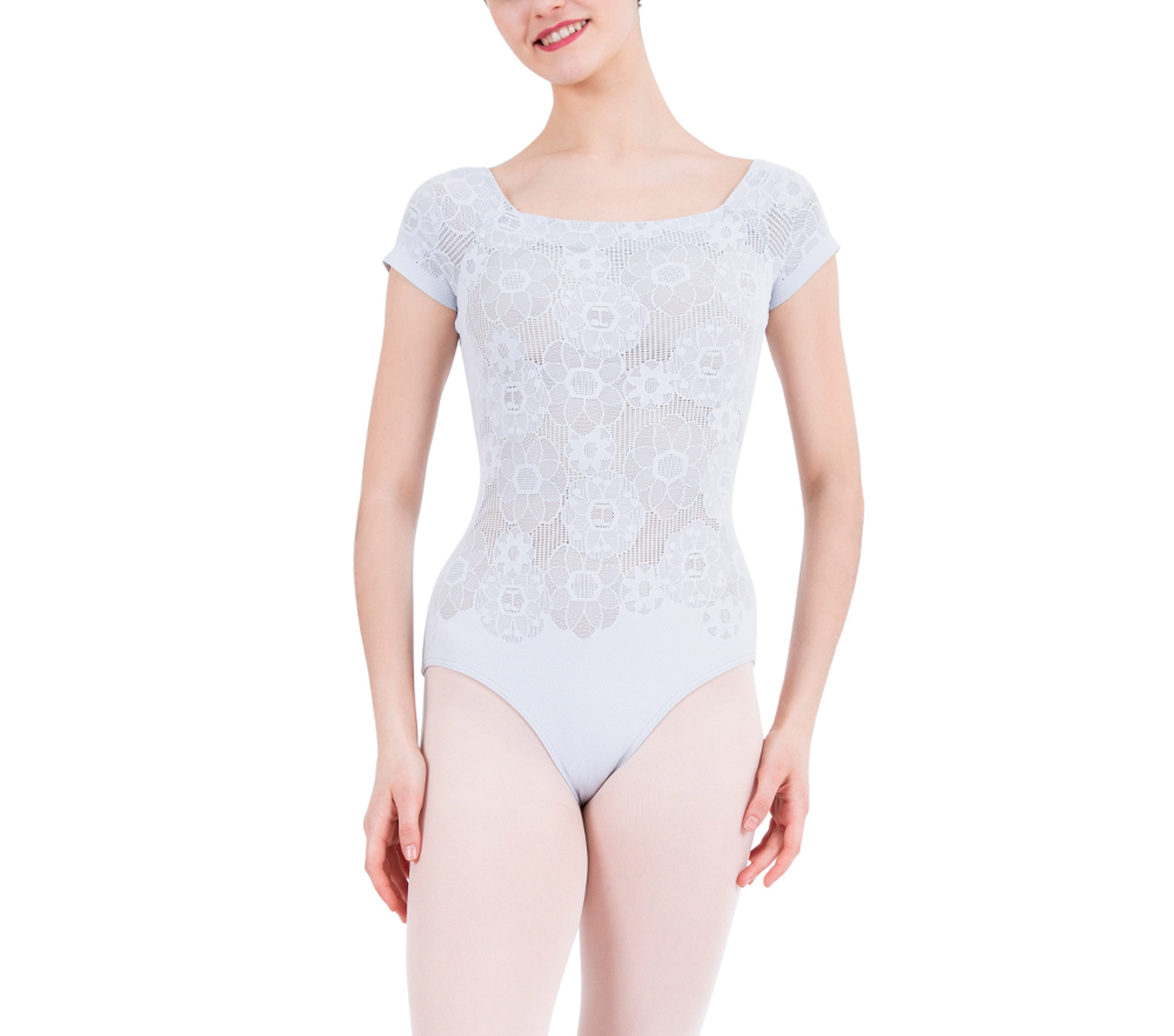 Short sleeves lace leotard
