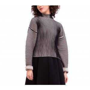 Ribbed knit high-neck, two-colour jumper
