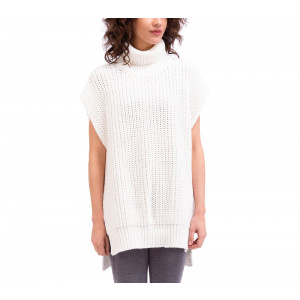 Poncho style jumper in 3D knit