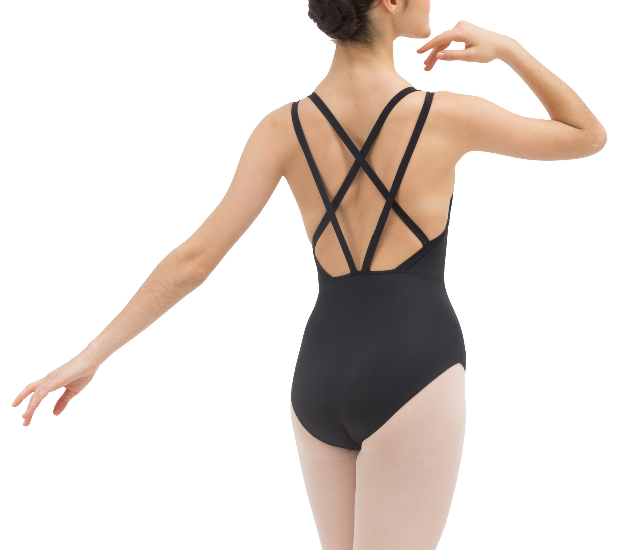 Thin straps crossed front leotard