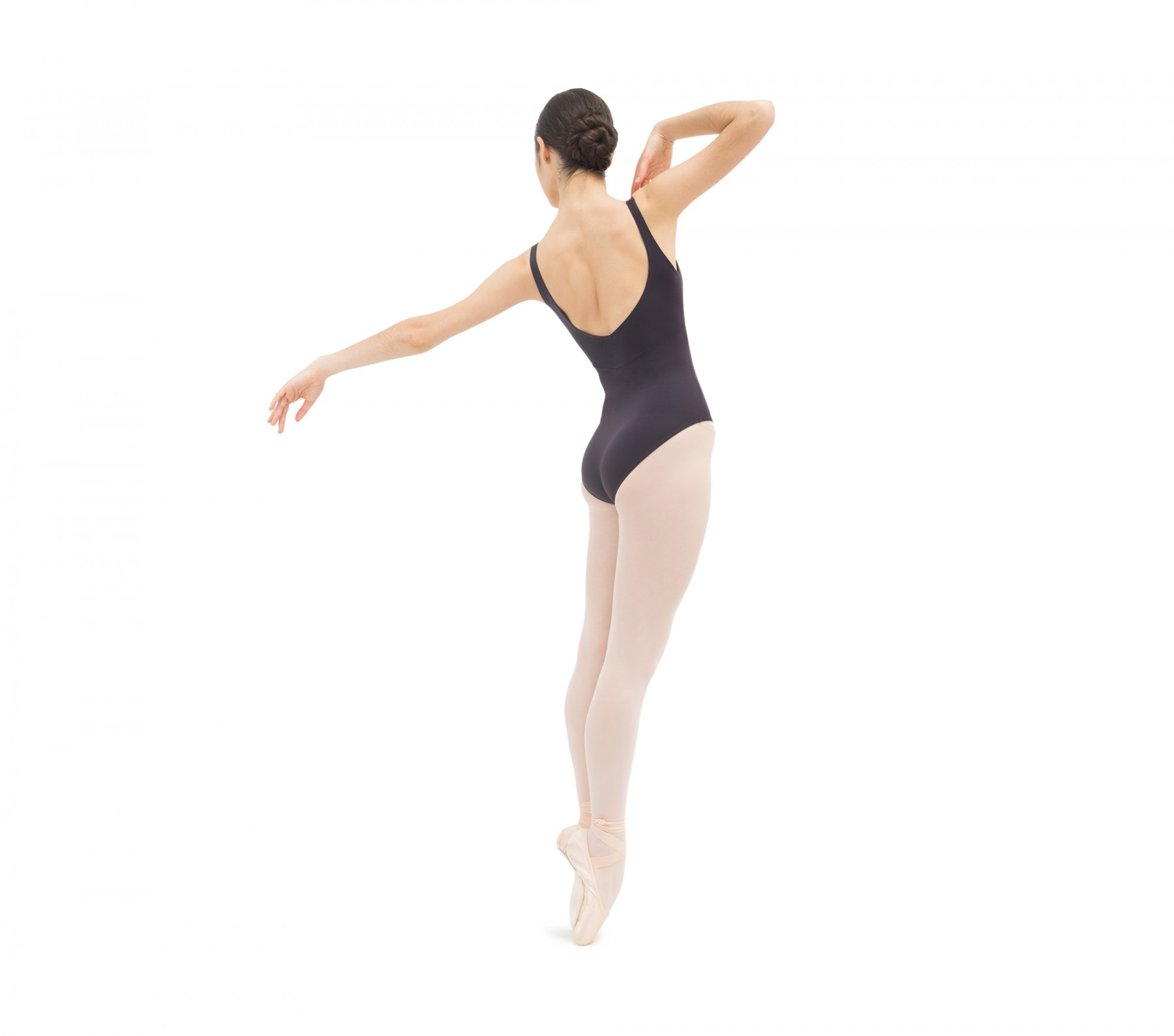 Gathered front and back leotard neckline