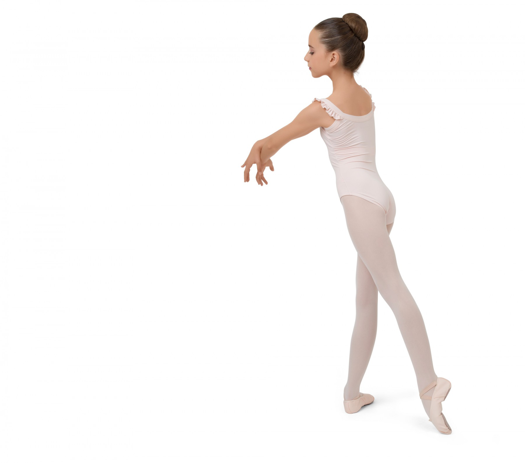 Girl leotard with elasticaded straps
