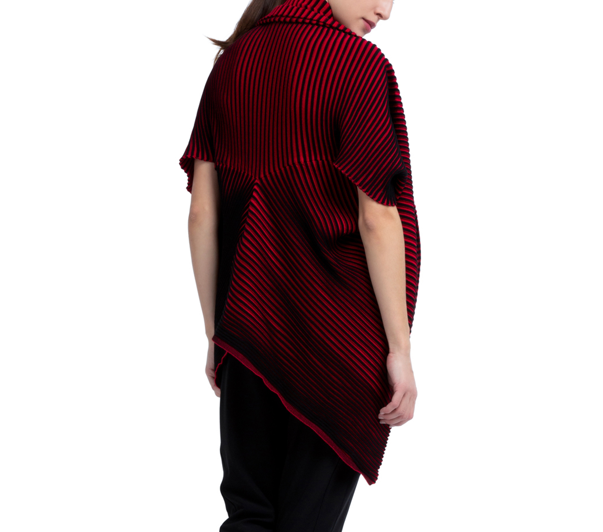 Bicolor rib knit wrap-over