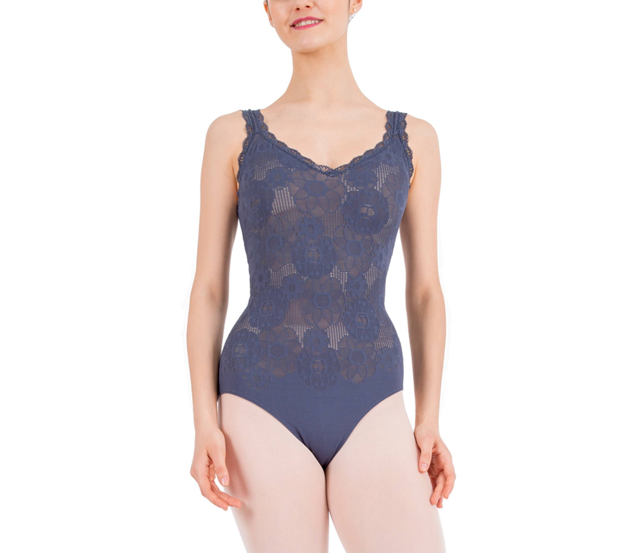 Thin straps lace leotard