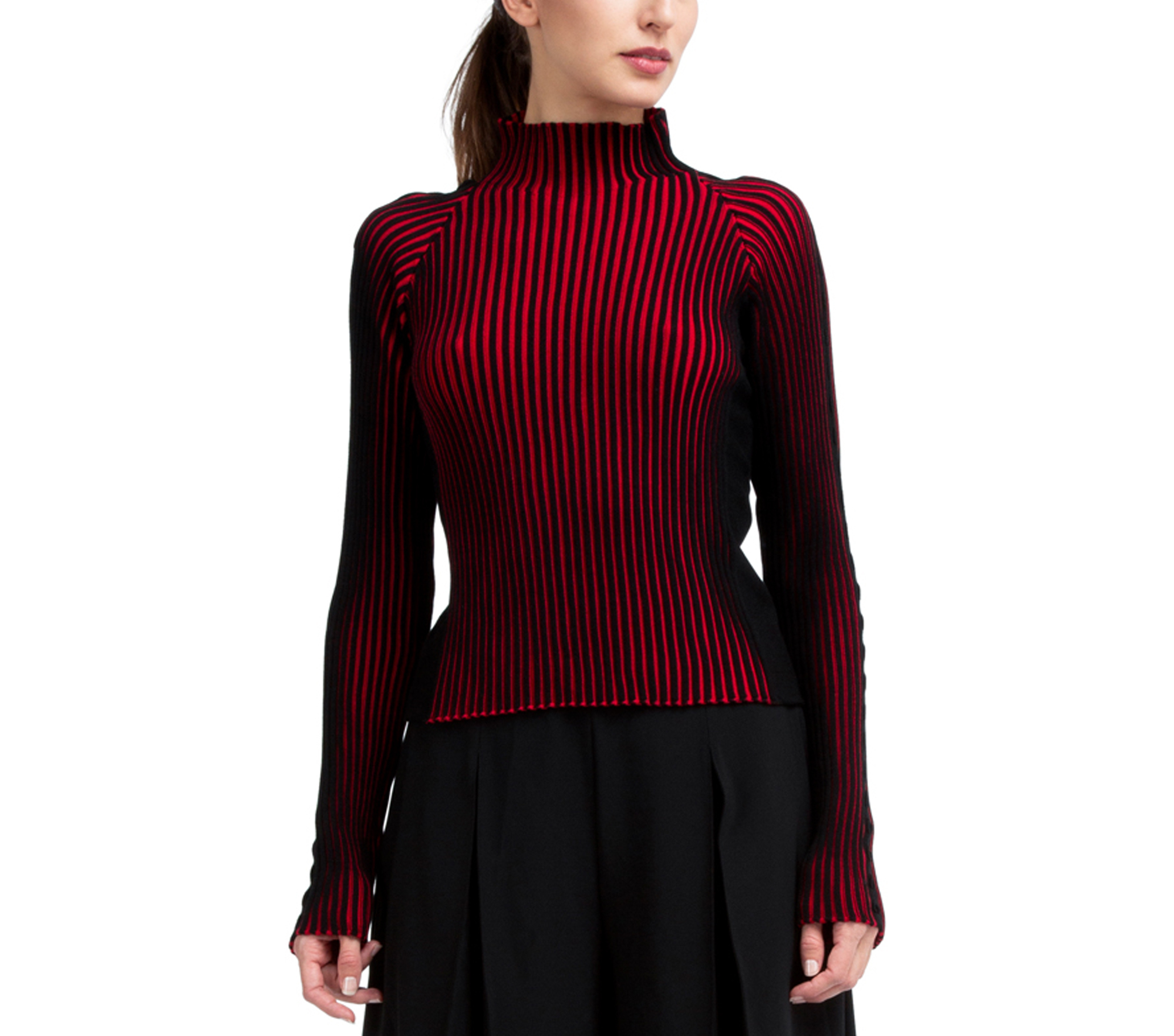 Bicolor rib knit sweater