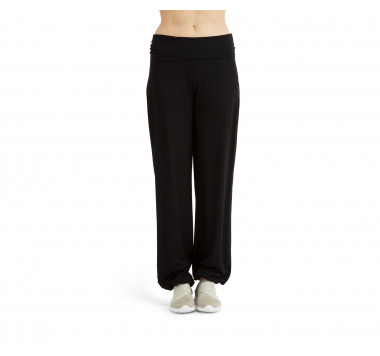 Viscose jazz pants with fold over waistband