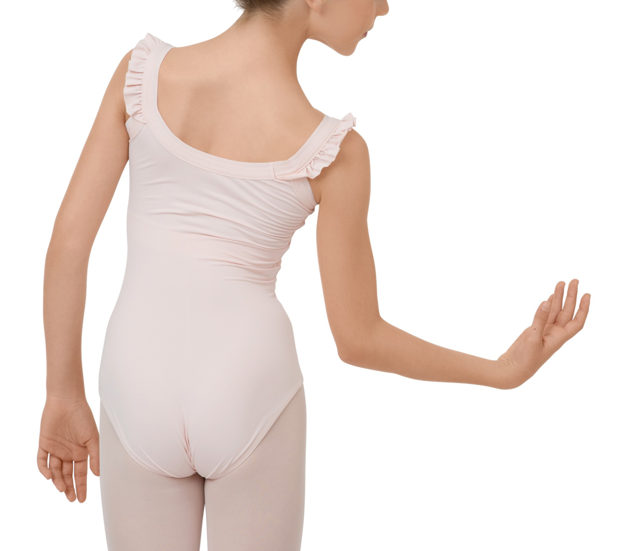 Girl leotard with elasticaded straps