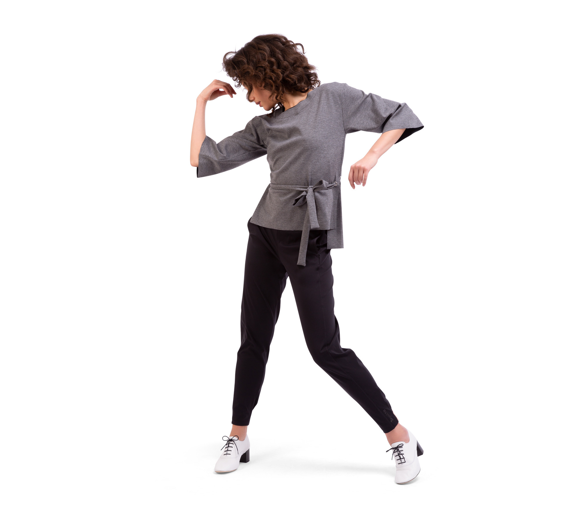 Stretch knit reversible sweatshirt