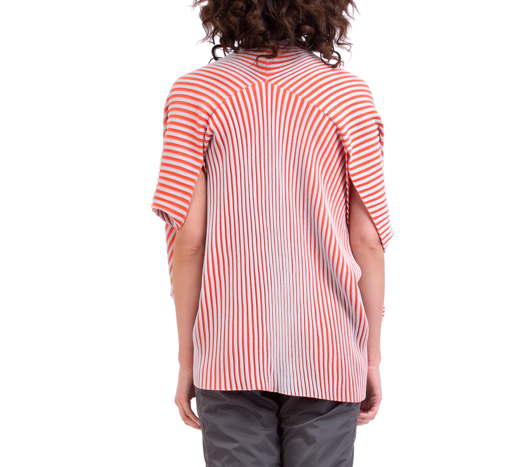 Loose-fit ribbed knit wrap over top in two colours