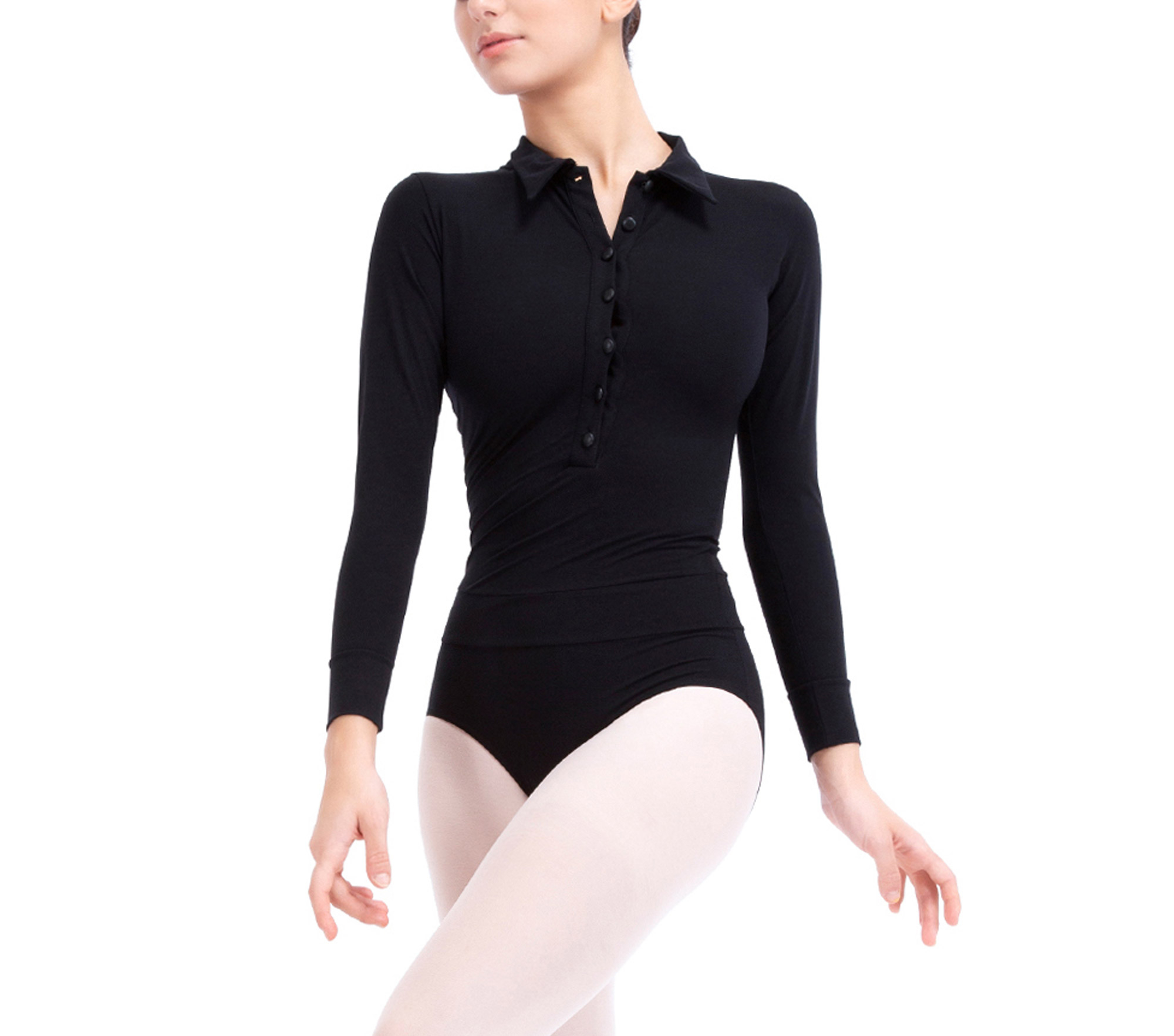 Collar shirt leotard