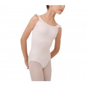 Leotard with elasticaded straps