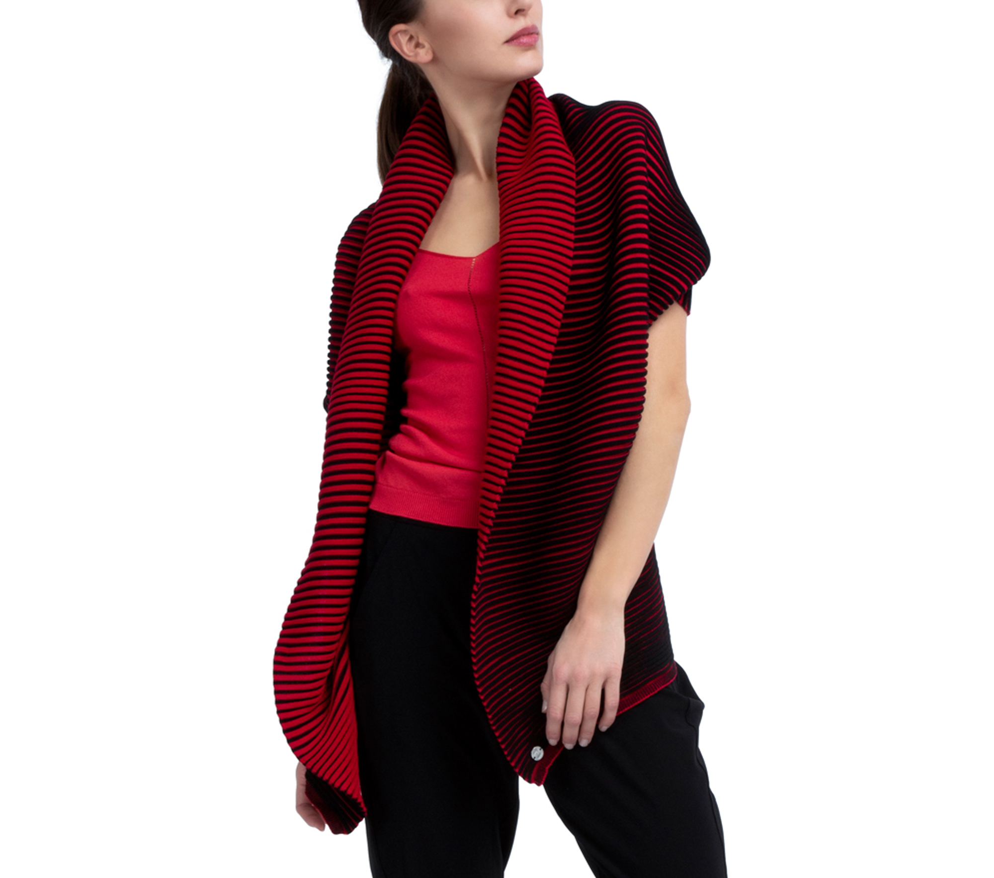 Bicolor rib knit wrap-over