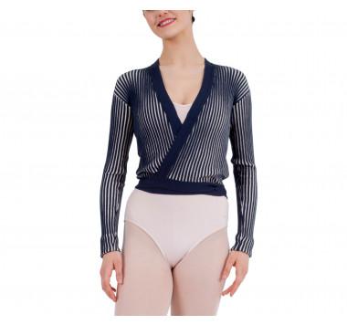 Bicolor rib-knit wrapover