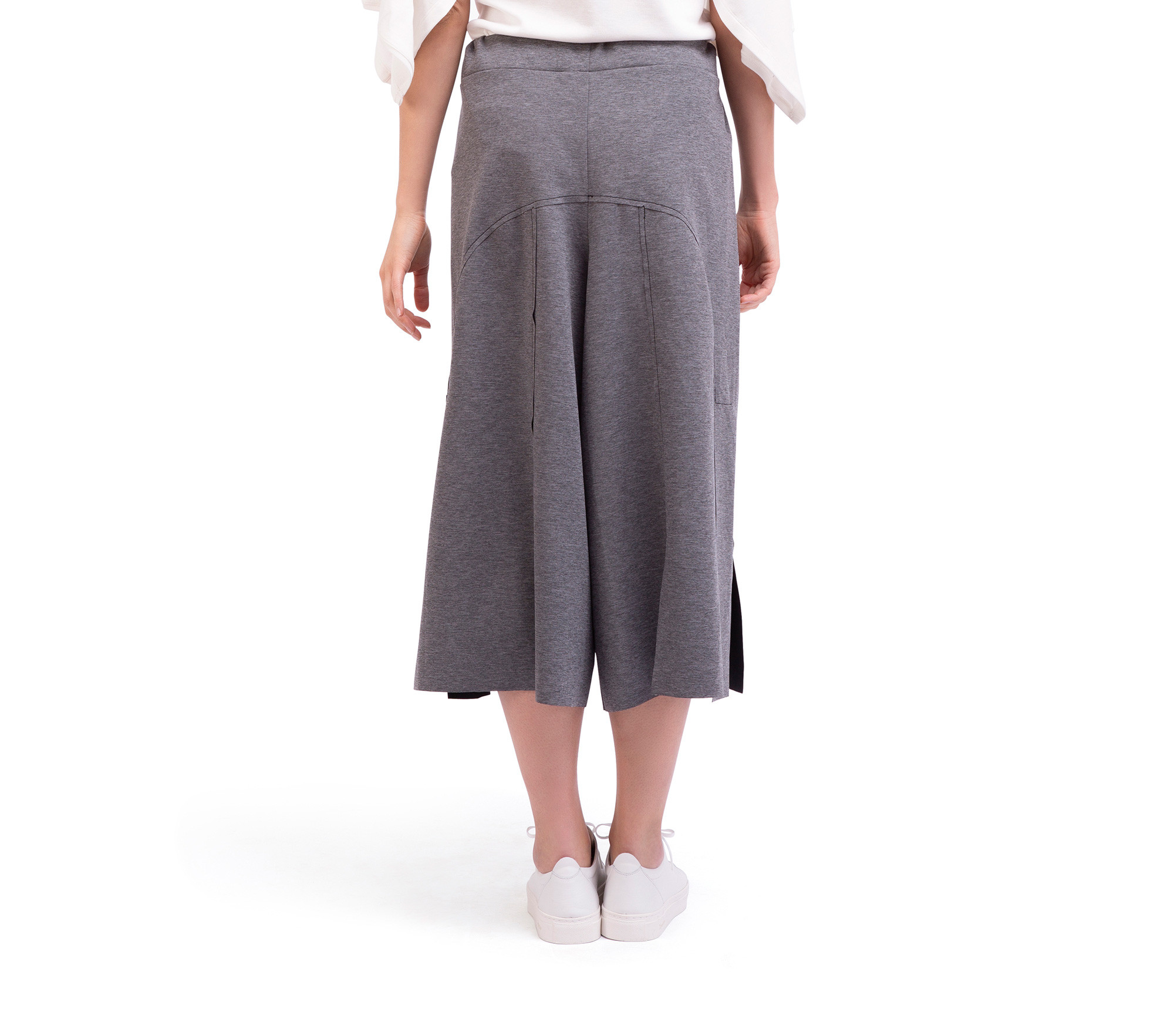 Stretch knit reversible culottes