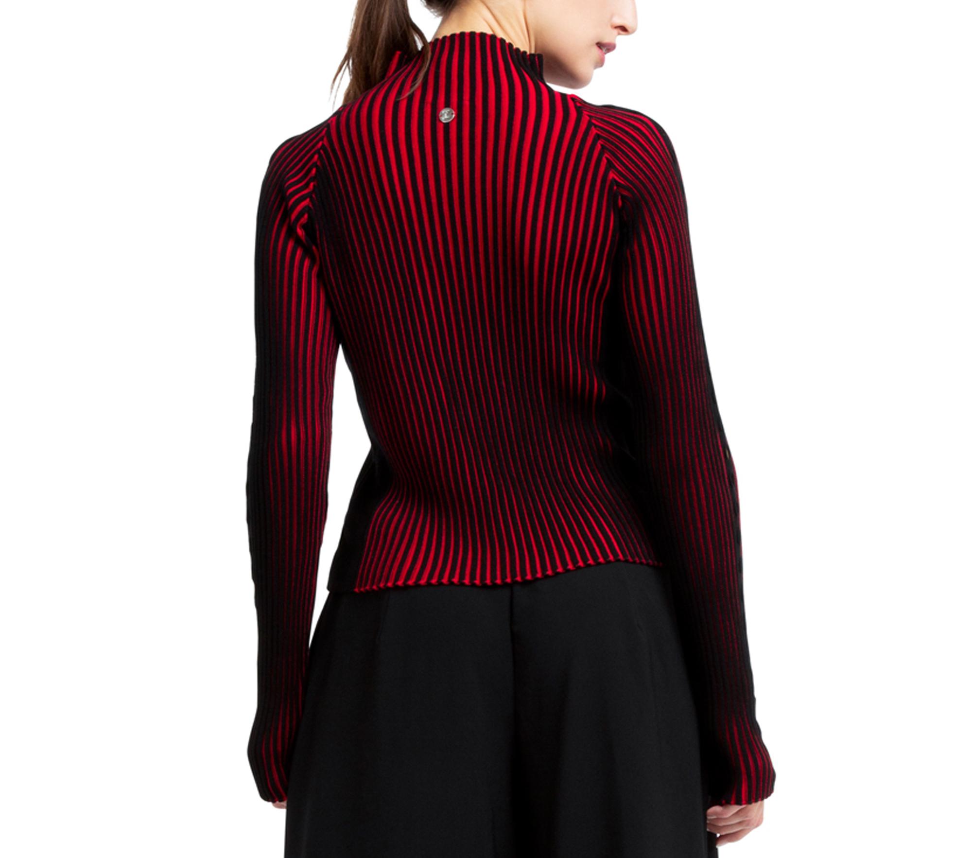 Bicolor rib knit sweater
