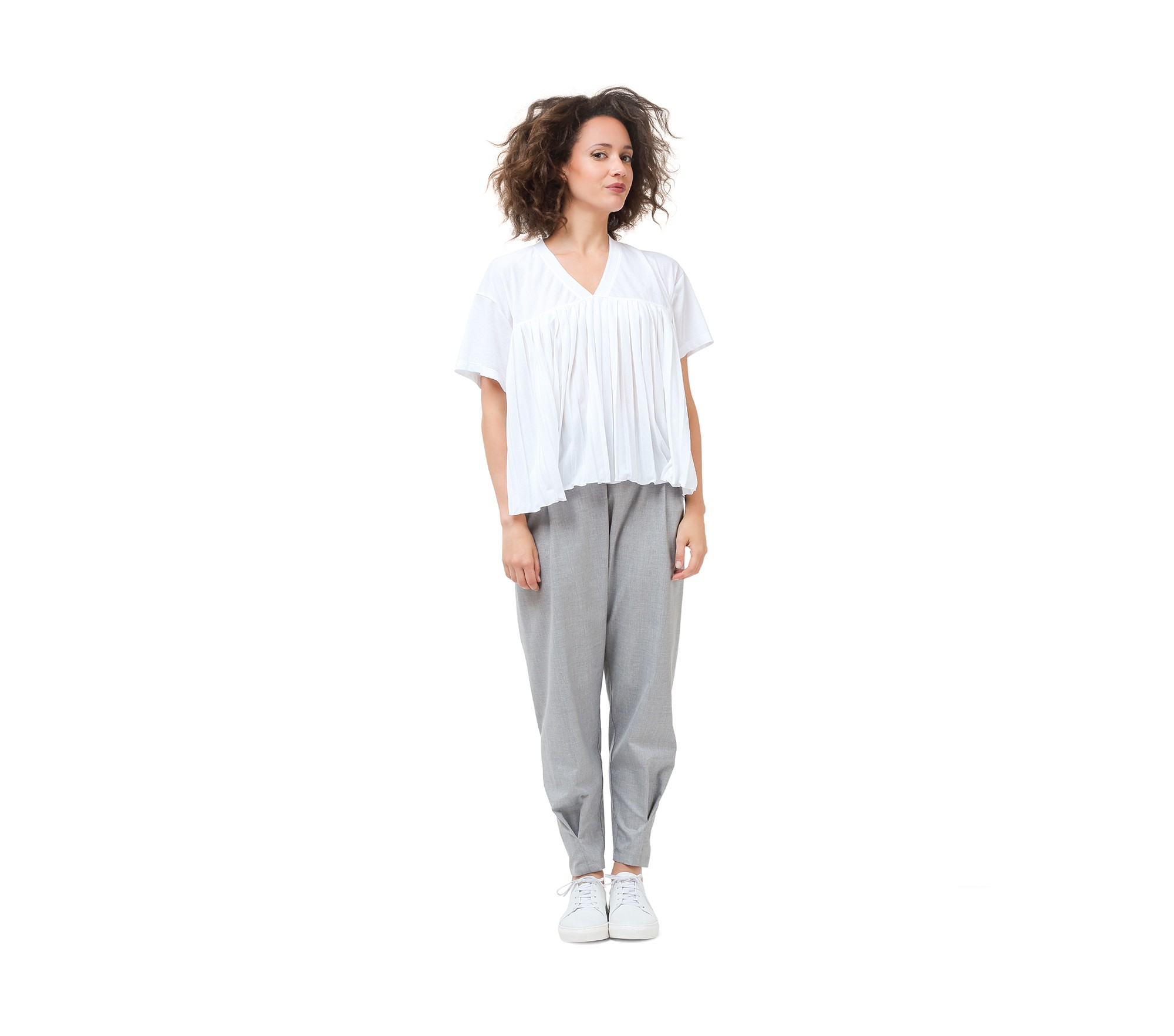 Mocked weft threads fabric pants