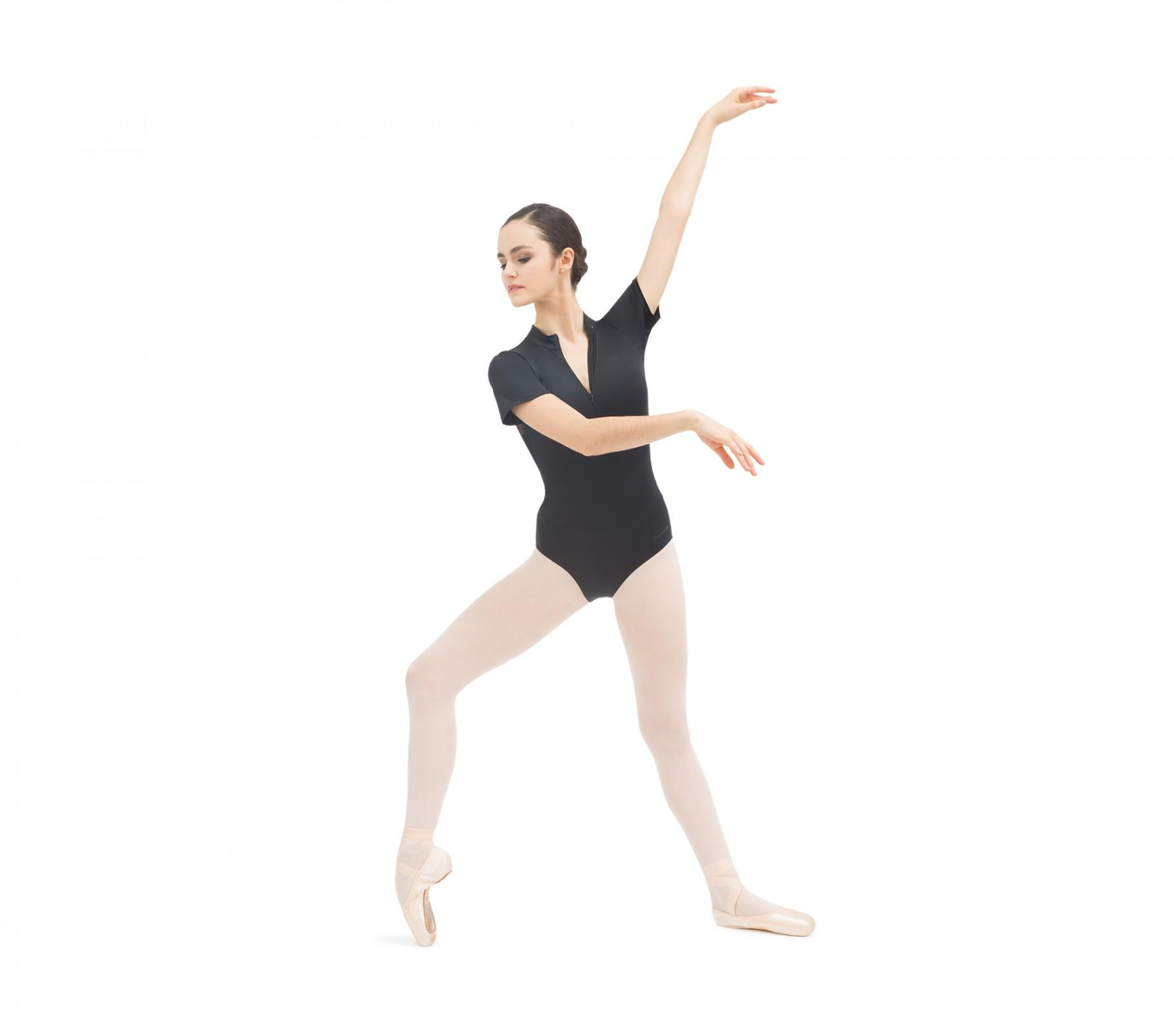 Tanztrikot mit Stehkragen und Spitze am Rücken