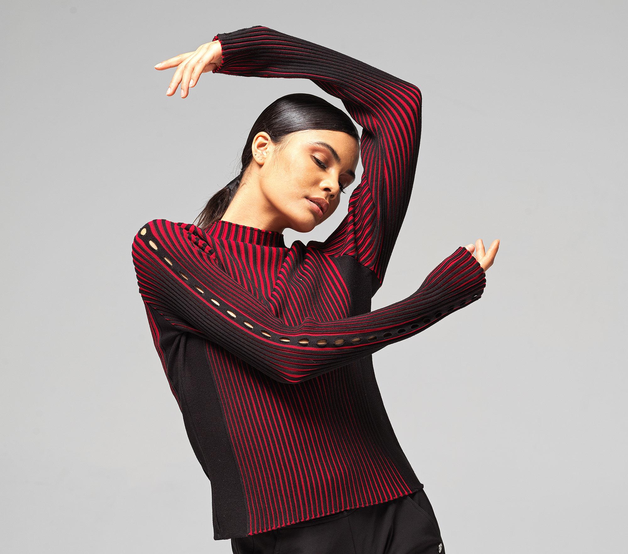 Zweifarbiger Rippstrick Sweater
