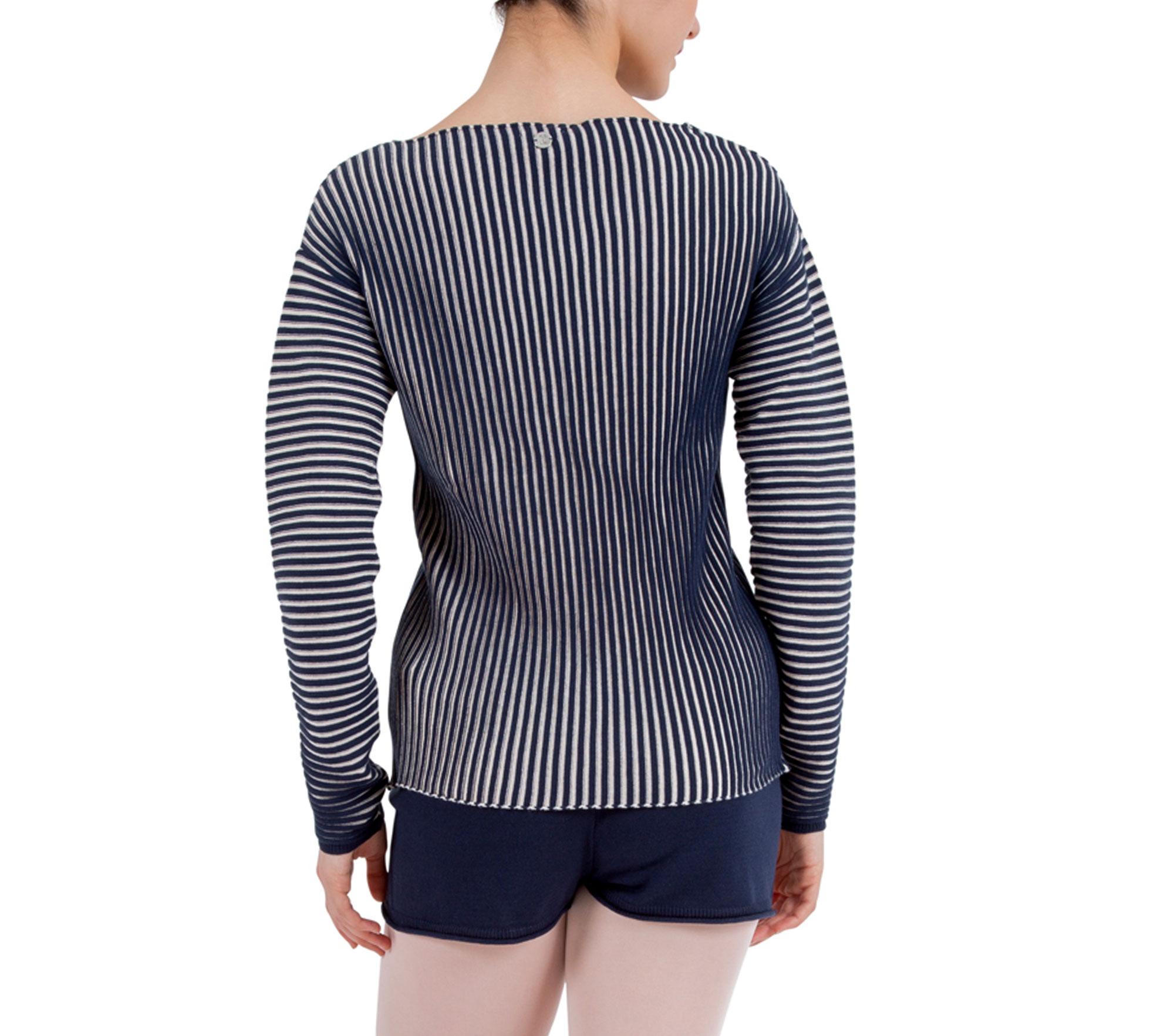 Mesh Sweater Zweifarbiger Rippstrick