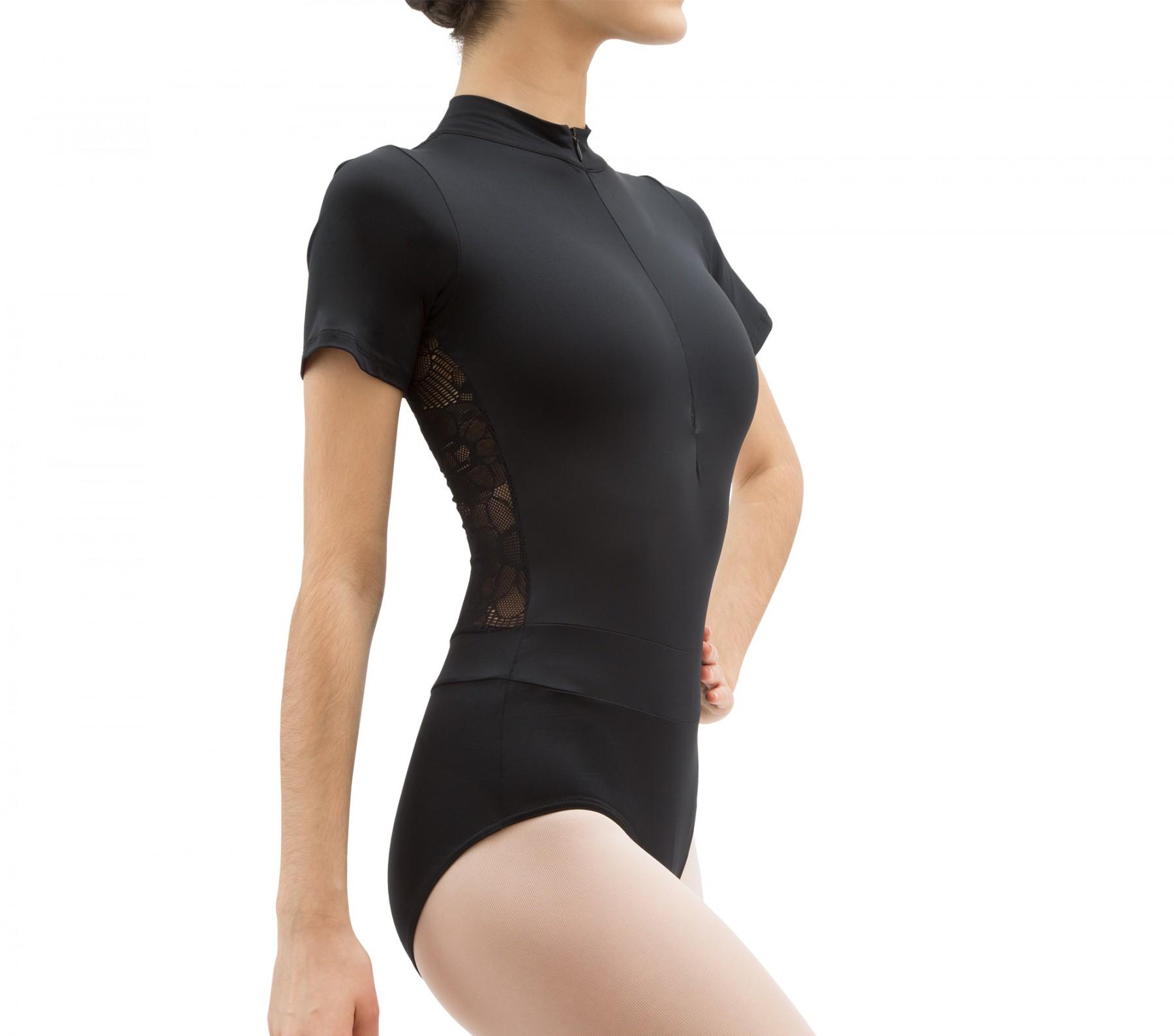 Body colletto alla coreana con schiena in pizzo
