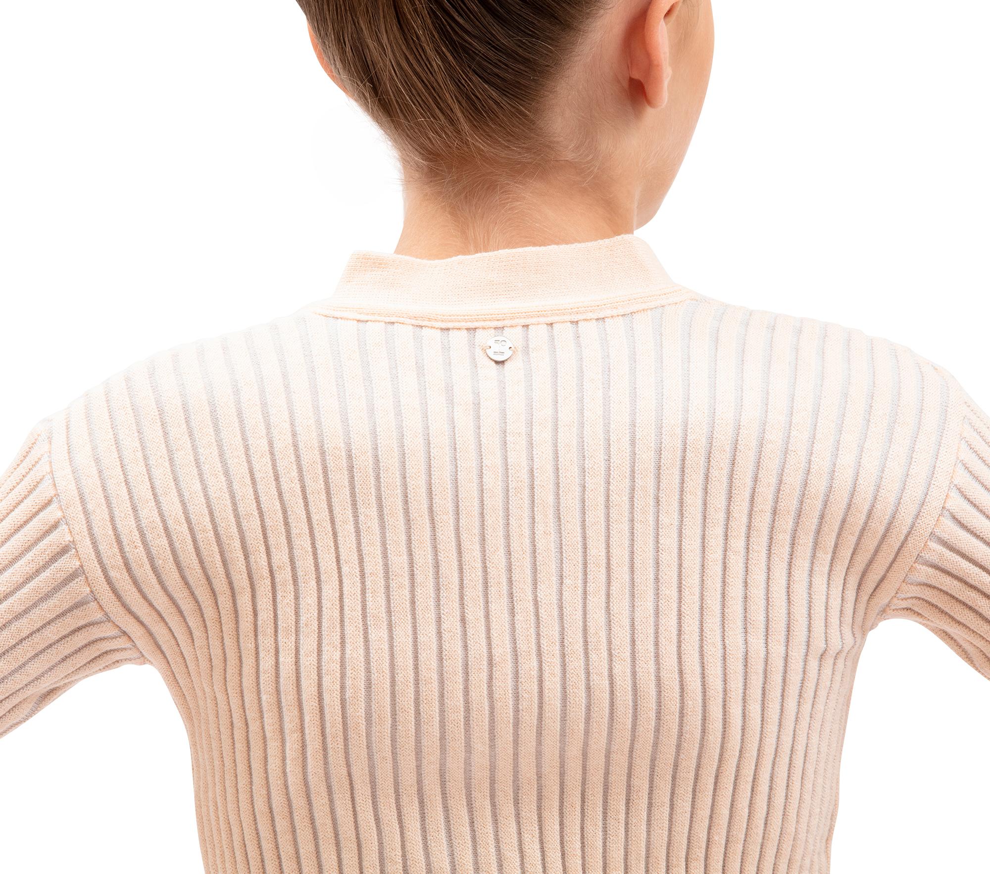 Scaldacuore in maglia coste bicolore